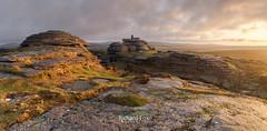 Trig-onometry (http://www.richardfoxphotography.com) Tags: bellevertor dartmoornationalpark sunrise tor granite rock moorland skies raincloud panorama outdoors