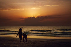 Golden Sunset (|MBS-..|) Tags: sunset beach people kids sea ocean sky water clounds sand fujifilm