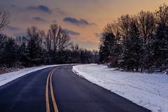 Pennsylvania (KennardP) Tags: canon5dmarkiv 5dmarkiv evening sunset pennsylvania buckscounty ruralpennsylvania road snow sigma sigma50mmf14dghsmart sigmaartlens winter