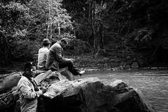 three men (julie.kate) Tags: men bw black white mondulkiri cambodia travel water nature people