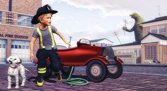 To have courage for whatever comes in life–everything lies in that. (Skippy Beresford) Tags: boy child childhood children kids courage play fantasy imagination fireman fire station car puppy friendship teamwork city street