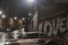 Uber Love (whistlingtent) Tags: love taxi uber graffiti car transport lightburst cab wetroad streetlights