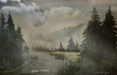 watercolor landscape (Robin Lyon) Tags: watercolor landscape nature sky background illustration art mountain summer grass tree water forest natural drawing painting green artwork abstract season hand field blue meadow river drawn graphic lake beautiful texture pine view bright outdoor environment mountains spring sketch wallpaper moody swans rainy fog foggy