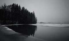 Lake Pitkäjärvi (Antti Tassberg) Tags: 24mmts landscape pitkäjärvi jää talvi bw reflection järvi suomi texture 24mm blackandwhite finland ice lake lens monochrome prime scandinavia tiltshift winter espoo