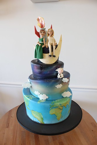 Rocket Moon Space Wedding Cake