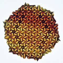 Flower-Power (Marjan Smeijsters) (De Rode Olifant) Tags: origami tessellation paper paperfolding marjansmeijsters basics hexagon triangle whirls flowerpower backlit pattern