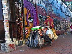 CambridgeCart@GAlley (fotosqrrl) Tags: cambridge massachusetts streetphotography urban centralsquare graffitialley streetart tagging grocerycart bags belongings maninneed