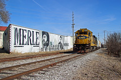 NWR 4245, 25th Ave, Nashville, TN, 02-10-18 (mikeball1374) Tags: santafe bnsf merlehaggard nashville tennessee nashvilleandwestern nwr ge b237 mural painting train transportation trainphotography trains photography railfanning railroad shortline freighttrain locomotive