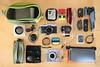 Travellin' Toolkit (all martn) Tags: whatsinyourbag gearspread camera kamera cameragrid fuji xe2