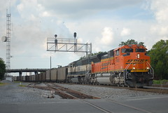 NS 736 7/25/15 (tjtrainz) Tags: ns norfolk southern 736 loaded scherer coal train dalton ga georgia division atlanta north district cp hair signals bnsf burlington northern santa fe emd electro motive sd70ace h3 sd70mac executive
