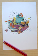 bubbleracer-coloredpencil (bubblefriends) Tags: bubblefriendsillustration coloredpencil illustrator polychromos freelance graphic drawing pencil paper race character design racing bubble cute kawaii