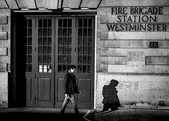 Fight fire with firefighters (London Lights) Tags: londonlights fightfirewithfirefighters london lights londres londra blackandwhite monochrome noiretblanc street shadows