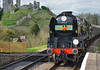 The Cunarder arrives at Corfe Castle (davids pix) Tags: 34052 lord dowding 34046 braunton the cunarder west country battleofbritain bulleid southern pacific swanage railway corfe castle boat train 2017 02042017