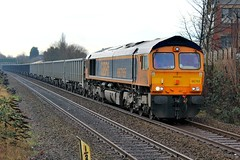 GBRF 66765 - Mansfield (the mother '66' 66001) Tags: gbrf class66 mansfield mansfieldwoodhouse robinhoodline railways rail nottinghamshire 6e89 wellingborough rylstone