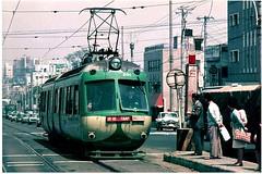 Toyko - line to Shibuya (Big Brisbane Boy) Tags: japan tokyo shibuya tram streetcar private railway green 1960s stop street japanese