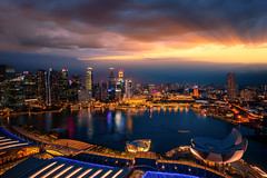 Cityscape of Singapore city (anekphoto) Tags: singapore bay marina sands night city business urban sky modern travel building evening asia river skyline bridge landscape hotel light tourism architecture integrated district sand skyscraper reflection landmark tower riverside cityscape exterior famous commercial downtown twilight water view outdoors sea office financial asian central finance town center tall metropolis sunset