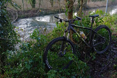 From freezing cold and snowy to muddy and wet within one hour! Winter cycle along Kents trails.... (favmark1) Tags: bike cycle trail track greatstour greatstourway winter river