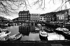 Dartmouth Harbour (JamieHaugh) Tags: dartmouth devon england uk gb greatbritain sony a6000 outdoors blackandwhite blackwhite bw monochrome harbour quay port water boats buildings trees shops