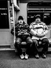 Wonderful twins, Milano, Italy (Davide Tarozzi) Tags: wonderfultwins milano italy twins metro portrait reportage cellphone blackandwhite people