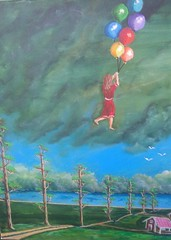 I CAN FLY. HIGH IN THE SKY (tomas491) Tags: baloons girl flying birds clouds houses fantasypainting acrylic handmade painting