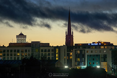 Millmount and St. Mary's in twilight (mythicalireland) Tags: twilight blue hour evening sunset millmount martello tower st marys church drogheda steeple silhouette outline d hotel boyne valley louth landscape nikon d3x