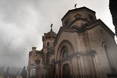 The Grey Cemetery (Horror_Paradise) Tags: creepy creep horror scary fear place fog mist church cemetery deads dark