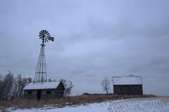 Gloomy morning (Len Langevin) Tags: abandoned old building shack windmill alberta canada cloudy gloomy rural decay derelict nikon d7100 tokina 1224