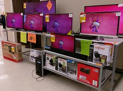 Remaining television sets up near the front entrance (l_dawg2000) Tags: 2016 90s bigk bluelightspecial closing corinth departmentstore discountstore flood goingoutofbusiness kmart liquidation mississippi ms old remodel remodeled sale store vintage unitedstates usa