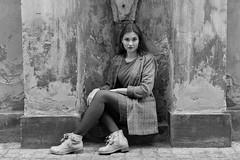 Live sculpture (piotr_szymanek) Tags: marcelina portrait outdoor blackandwhite face mini skirt stockings eyesoncamera skinny longhair woman girl lady hand boots 5k 50f 1k 10k 20f 100f 20k marcelinab 30k