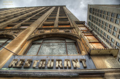 Meet Me At The Corner Of Heartbreak and Despair (DetroitDerek Photography ( ALL RIGHTS RESERVED )) Tags: allrightsreserved 313 detroit downtown closed restaurant diner abandoned blight neon bleak sign damaged detail beauty city urban hdr 3exp canon 5d mkii digital michigan economy ruin decay midwest usa america motown motorcity detroitderek heartbreak despair hope window dilapidated