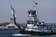NY Harbor (AMRosario) Tags: nyc boats xt20 brooklyn newyork water newyorkcity harbor redhook ship newjersey statueofliberty tugboat tug