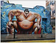 Soggy Sumo (donbyatt) Tags: streetart shoreditch eastlondon murals urbanwalls spraycans wet rain benjaycrossman sumo wrestling