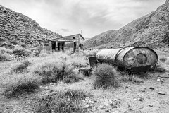 Opal Canyon, Death Valley National Park, Inyo County, California (paccode) Tags: solemn d850 landscape desert canyon nationalpark brush serious hills california urban monochrome farm mojave scary bushes forgotten creepy abandoned blackwhite quiet mountain bigpine unitedstates us