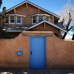 Gate in Adobe Wall, Garcia St., Santa Fe (woody lauland) Tags: santafe newmexico santafenm nm gate adobe wall house