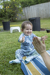 clapping with daddy (louisa_catlover) Tags: baby child daughter tabitha tabby cute smile clapping outdoor backyard garden