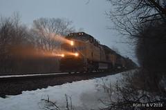 Winter Fog At Twilight (R.G. Five) Tags: union pacific dixon il train railroad fog haze