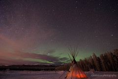 Under the Sky (littlekiss☆) Tags: winter nightscape night nightsky tent whitehorse yukon northernlights starrysky littlekissphotography