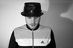Portraits of Black and White . . The son. (CWhatPhotos) Tags: cwhatphotos bald head self me selfie black white mono man male look eyes digital camera pictures picture image images photo photos foto fotos that have which contain olympus penf face hat smile smiles portrait pose adidastop adidas top leather porkpiehat pork pie