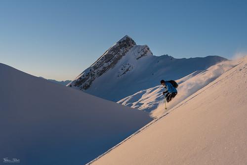 Ski at sunrise