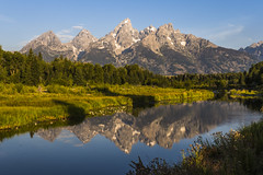 Teton Range in the morning (birgitmischewski) Tags: tetonrange grandtetonnp schwabacherslanding reflection morning mountain
