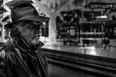the investigator (sven-kristianwolf) Tags: hat spy salzburg train station secret agent observation geheimagent polizei police mono spion