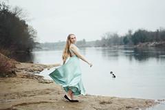 i have wings too (mitomeru) Tags: river portrait blue dress model blonde winter mitomeru