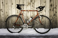 Pinarello cyclocross (steel frame ca. late 1990s/early 2000s) (scurvy_knaves) Tags: cyclocross campagnolo velo fujifilm bicycles ciclisimo minnesota winter cycling minneapolis msp x100s pinarello saintlouispark unitedstates