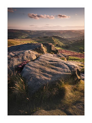 Rocks above Hathersage - in explore (Dave Fieldhouse Photography) Tags: peakdistrict peaks derbyshire nationalpark hathersage hathersagemoor higgertor rocks gritstone greatbritain grass heather windy summer sunset clouds shadows fujifilm fuji fujixt2 wwwdavefieldhousephotographycom landscapes outdoors countryside