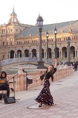 Flamenco Dancer (Hilde Carmans) Tags: andalusia andalucia plazadeespana espana spain seville sevilla history buildings monument flamengo dancer plaza court square old