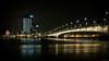 Deutzer Brücke - Cologne, Germany (Sebastian Bayer) Tags: köln dunkel fluss nacht brücke lampen blendensterne hochhaus rhein stadt lichter deutzerbrücke wellen langzeitbelichtung wasser