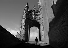 (cherco) Tags: man church iglesia catedral cathedral lonely light luz city ciudad albi france francia blackandwhite blancoynegro stairs escaleras gothic gotico geometry geometric shadow sombras silueta gate puerta up subir alone solitario solitary composition composicion canon 5d markiii