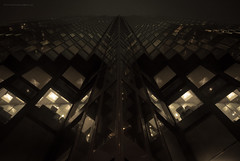 Before the Blackout (BB ON) Tags: toronto ontario canada building night fog outdoor glass tower royalbankplaza noir bladerunner skyscraper window city bank lines reflection office