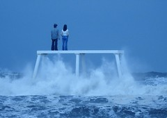 'Couple' Statue - Study In Blue (Gilli8888) Tags: northumberland newbigginbythesea newbiggin northsea northeast seaside coast coastal winter nikon p900 coolpix waves sea seascape couplestatue sculpture art publicart seaspray water blue