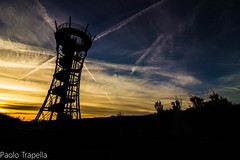 la torre panoramica (paolotrapella) Tags: tower torre panorama silhouette nero black bluesky clouds sunset tramonto